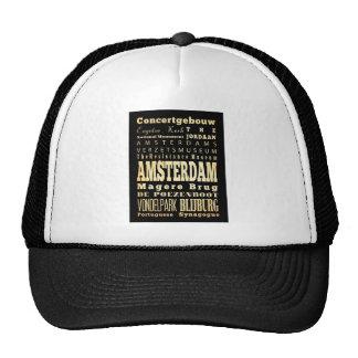 Amsterdam City of Olanda Typography Art Trucker Hat