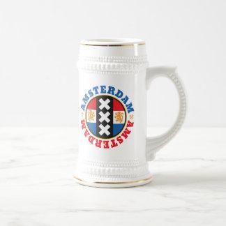 Amsterdam City Symbol with Dutch Flag Beer Stein