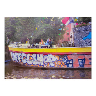 Amsterdam, Coffeeshop on a Dutch barge Poster