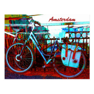 amsterdam colorful bicycle grunge postcard