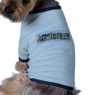 Amsterdam con vistas del turista en letras camiseta de perrito