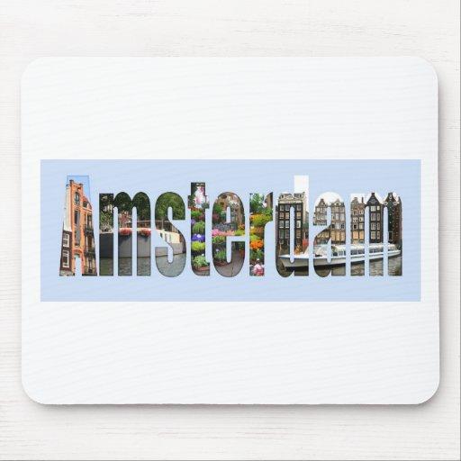 Amsterdam con vistas del turista en letras tapetes de ratón