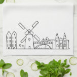 "Amsterdam Dishtowel Hand Towel<br><div class=""desc"">Amsterdam Skyline drawing that I turned into this print. Dishtowel -D&#233;cor.</div>"