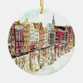 Amsterdam Double-Sided Ceramic Round Christmas Ornament