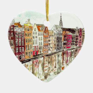 Amsterdam Double-Sided Heart Ceramic Christmas Ornament