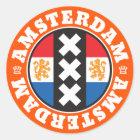 Amsterdam Dutch Flag and City Crosses Symbol Classic Round Sticker