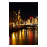 Amsterdam en la noche en Amsterdam Países Bajos Impresiones