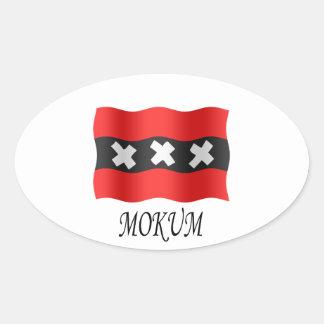Amsterdam flag + Mokum Oval Sticker