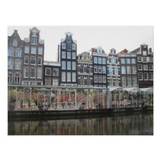 Amsterdam Flower Market Canal Houses Photo Poster