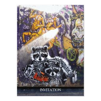 """Amsterdam Graffiti Street Art Nr. 1 - Raccoon 5.5"""" X 7.5"""" Invitation Card"""