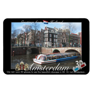 Amsterdam Holland 3D View Anaglyph Rectangle Magnets