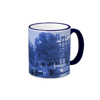 Amsterdam Holland Cityscape Delft-Blue-Look Ringer Coffee Mug