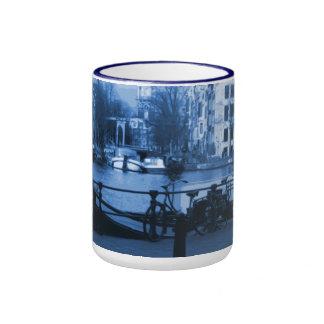 Amsterdam Holland Cityscape Delft-Blueware-Look Ringer Coffee Mug