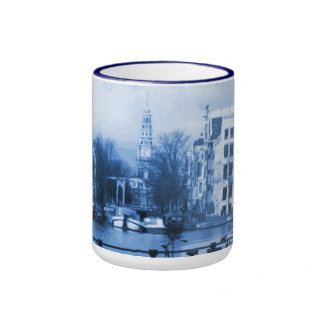 Amsterdam Holland Delft-Blue-Look Ringer Coffee Mug