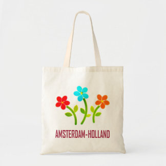 Amsterdam, holland, flowers tote bag