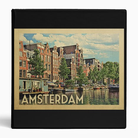 Amsterdam Holland Vintage Travel 3 Ring Binder