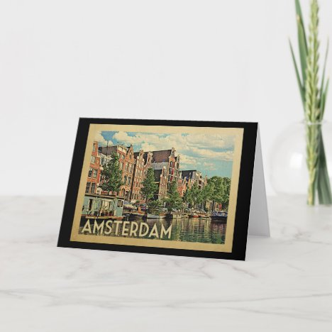 Amsterdam Holland Vintage Travel Card