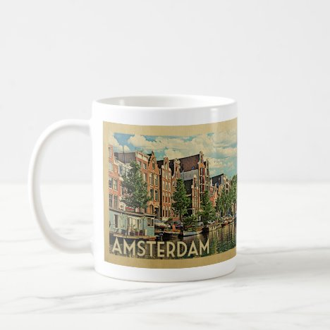 Amsterdam Holland Vintage Travel Coffee Mug
