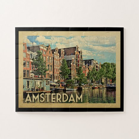 Amsterdam Holland Vintage Travel Jigsaw Puzzle