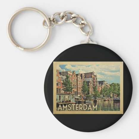 Amsterdam Holland Vintage Travel Keychain