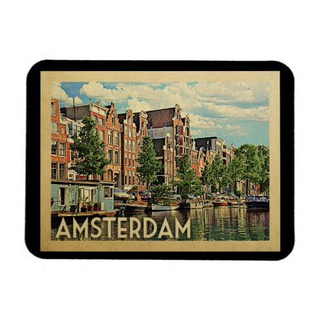 Amsterdam Holland Vintage Travel Magnet