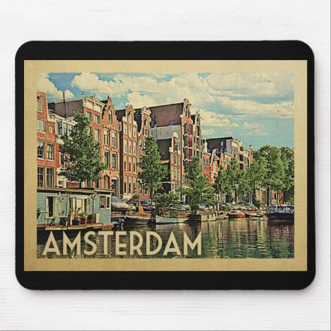 Amsterdam Holland Vintage Travel Mouse Pad