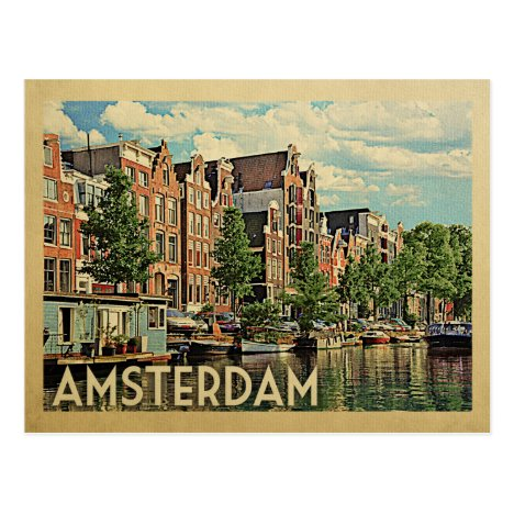 Amsterdam Holland Vintage Travel Postcard