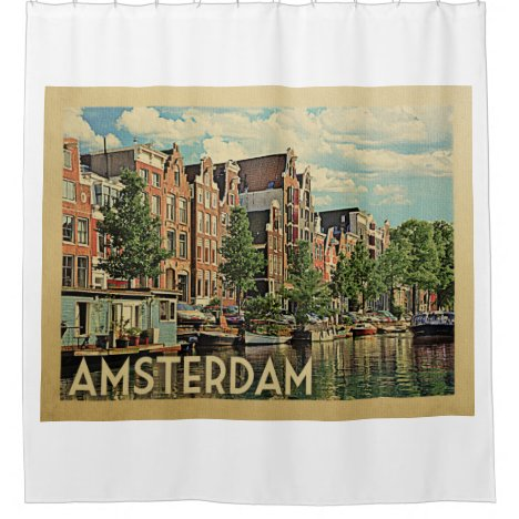 Amsterdam Holland Vintage Travel Shower Curtain