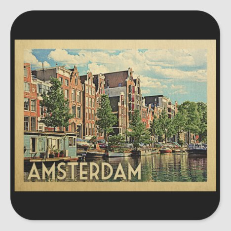 Amsterdam Holland Vintage Travel Square Sticker