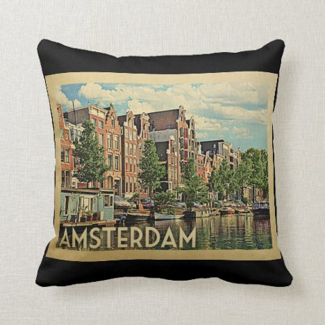Amsterdam Holland Vintage Travel Throw Pillow