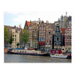 Amsterdam, houses by the canal postcards