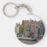 Amsterdam, houses on the canal basic round button keychain