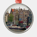 Amsterdam, houses on the canal round metal christmas ornament