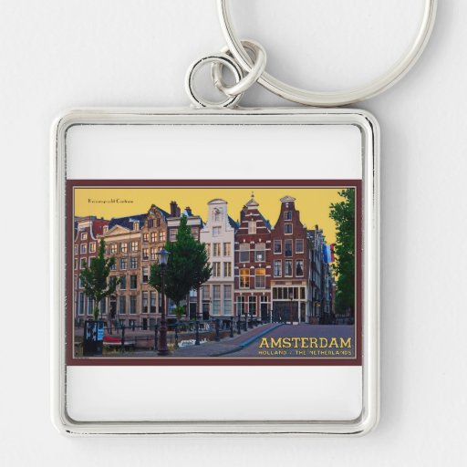 Amsterdam-Keizersgracht Centrum Silver-Colored Square Keychain