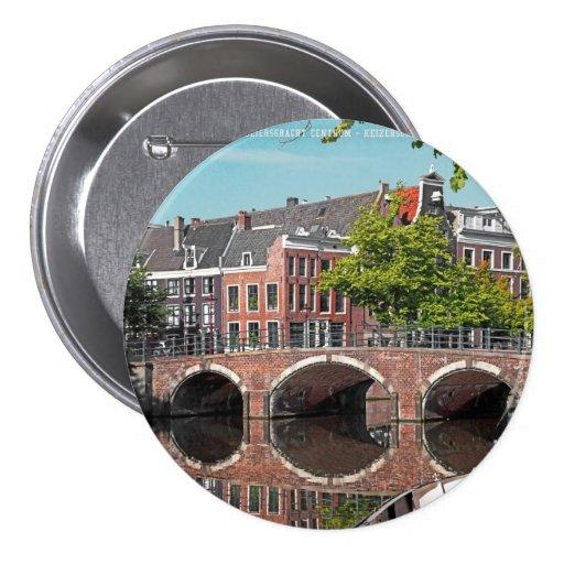 Amsterdam - Keizersgracht Pin Redondo De 3 Pulgadas