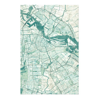 Amsterdam Map Blue Vintage Watercolor Stationery