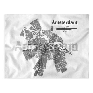 Amsterdam Map Postcard