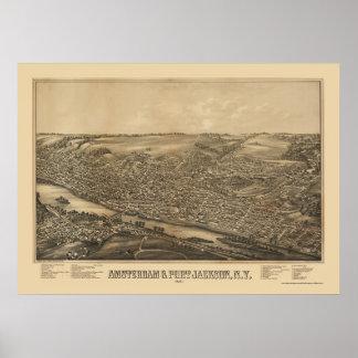 Amsterdam mapa panorámico de NY - 1881 Impresiones