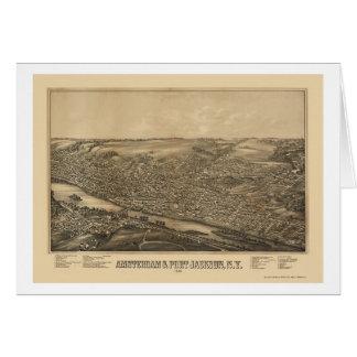 Amsterdam mapa panorámico de NY - 1881 Tarjeta