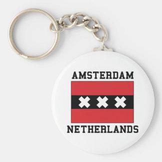 Amsterdam Netherlands Basic Round Button Keychain