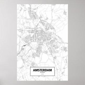 Amsterdam, Netherlands (black on white) Print