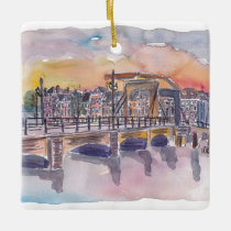 Amsterdam Netherlands Canal Sunset, Prinsengracht Ceramic Ornament