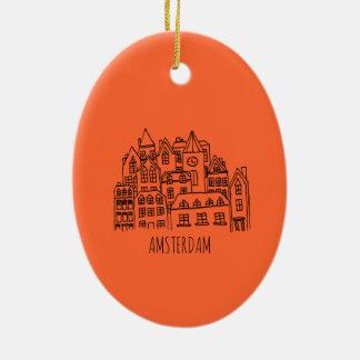 Amsterdam Netherlands Holland City Souvenir Orange Ceramic Ornament