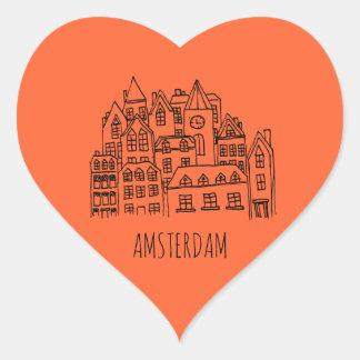 Amsterdam Netherlands Holland City Souvenir Orange Heart Sticker