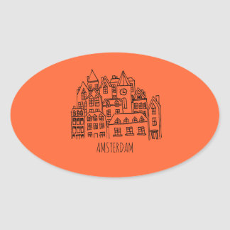 Amsterdam Netherlands Holland City Souvenir Orange Oval Sticker