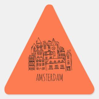 Amsterdam Netherlands Holland City Souvenir Orange Triangle Sticker