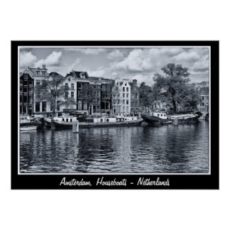 Amsterdam - Netherlands, Houseboats (Poster) Poster