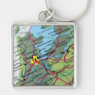 Amsterdam, Netherlands Map Key Chains
