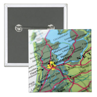 Amsterdam, Netherlands Map Pinback Button