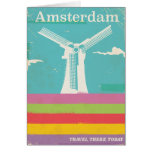 Amsterdam retro vintage travel poster card